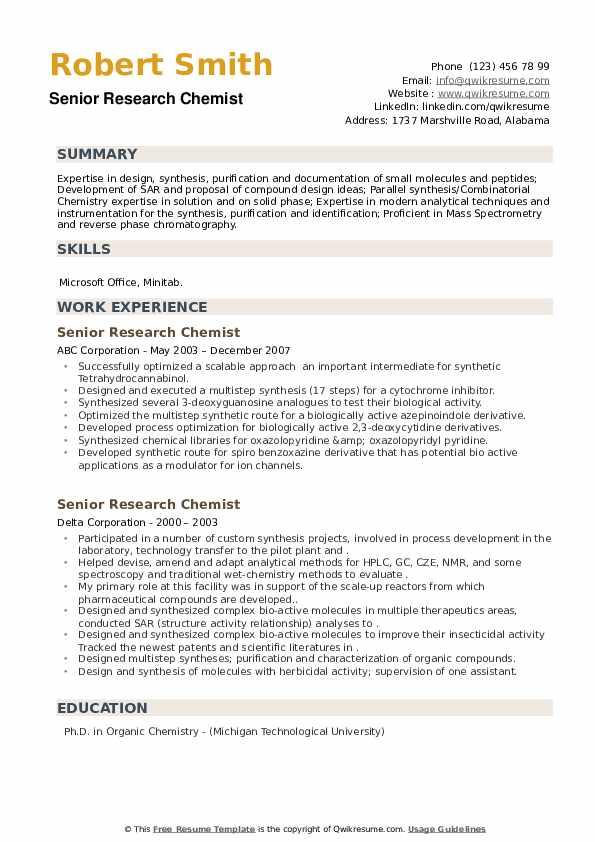 Senior Research Chemist Resume example