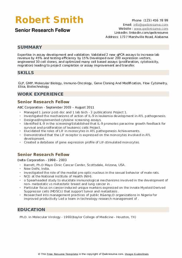 Senior Research Fellow Resume example