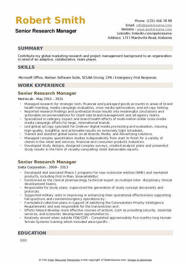 Senior Research Manager Resume example