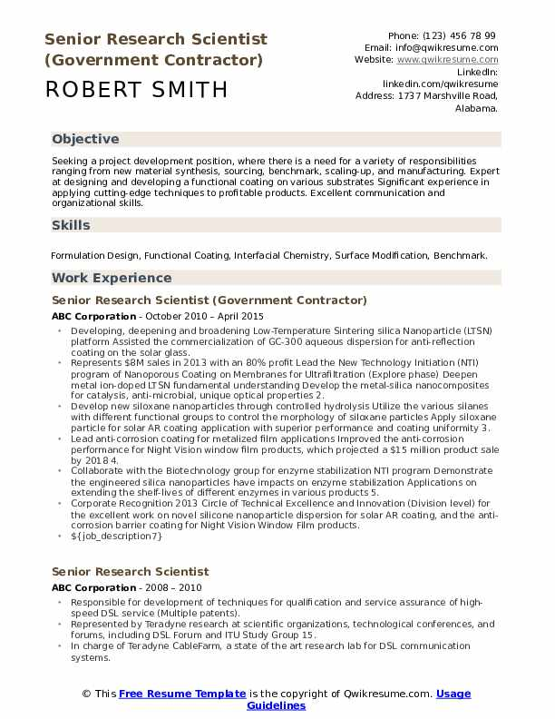 Senior Research Scientist (Government Contractor) Resume Sample