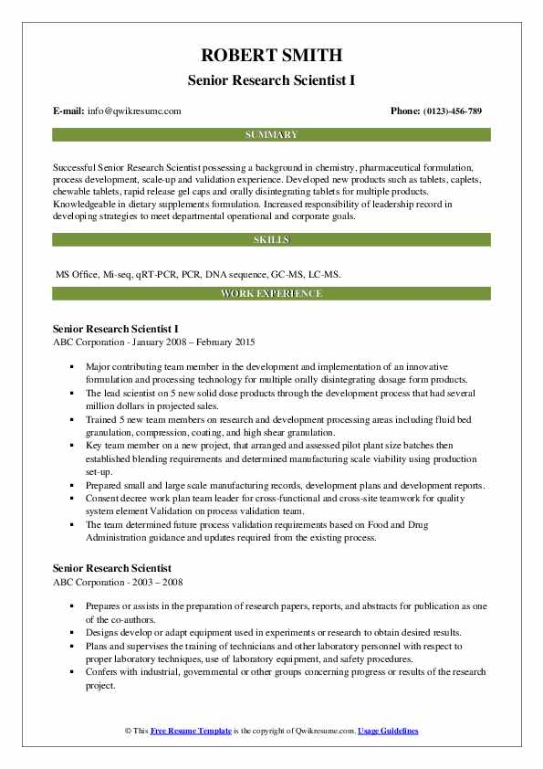Senior Research Scientist I Resume Example