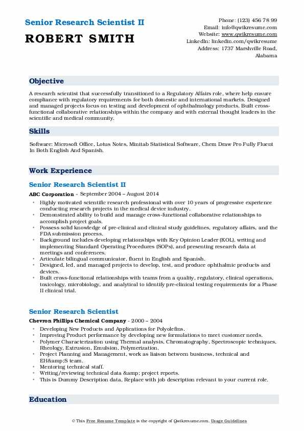 Senior Research Scientist II Resume Template