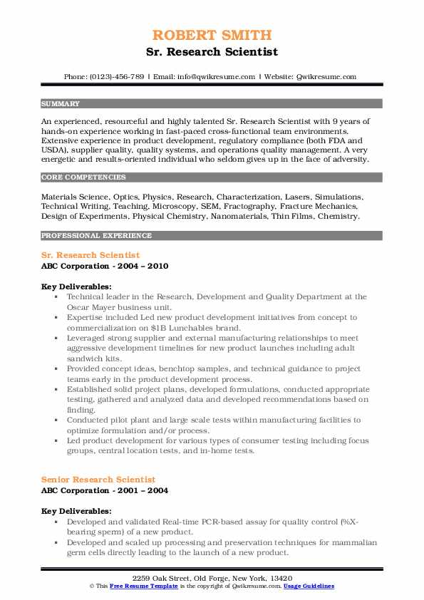Sr. Research Scientist Resume Format