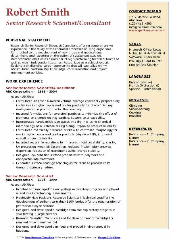 Senior Research Scientist/Consultant Resume Example
