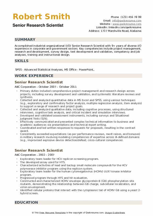 Senior Research Scientist Resume Model