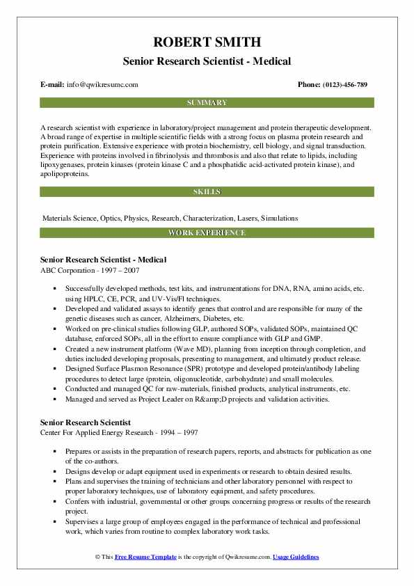 Senior Research Scientist - Medical Resume Sample