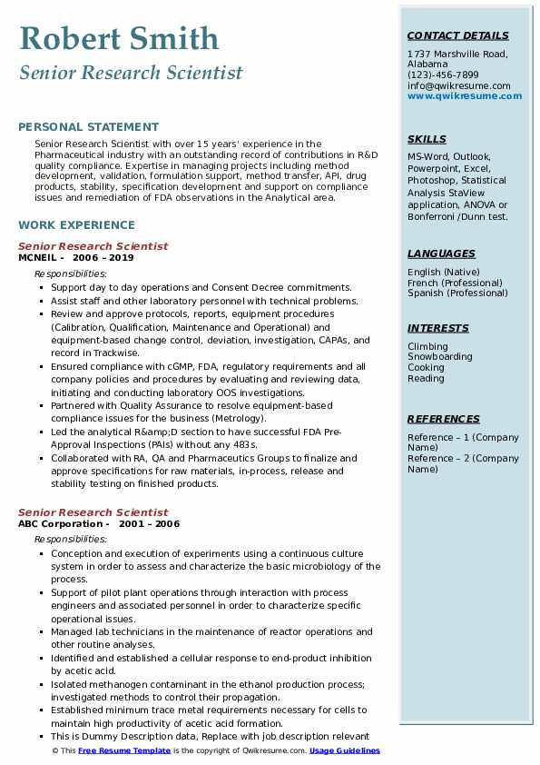 Senior Research Scientist Resume Format