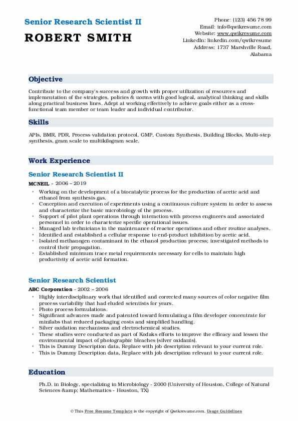 Senior Research Scientist II Resume Model