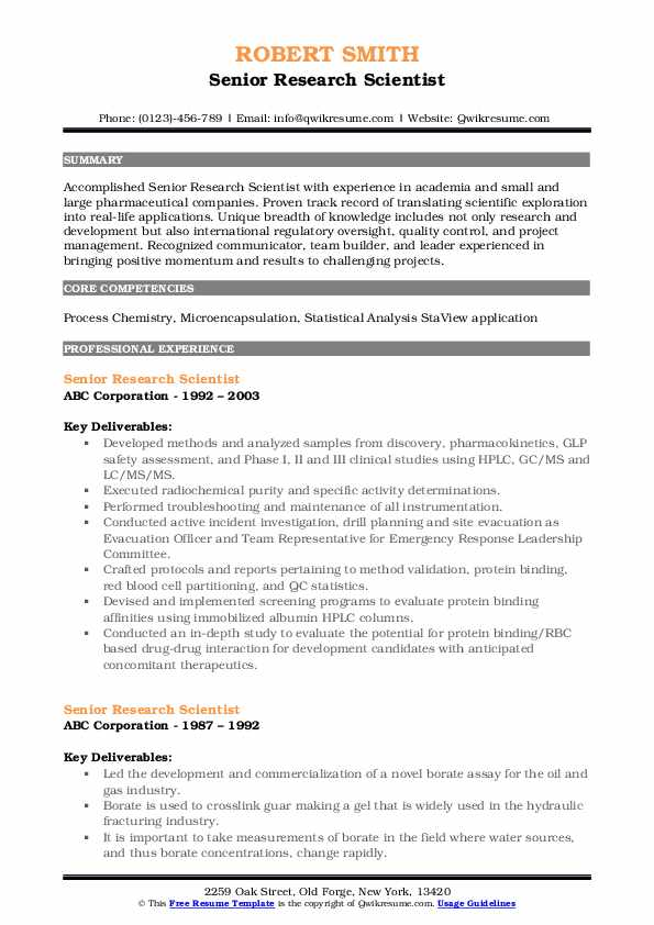 Senior Research Scientist Resume Template