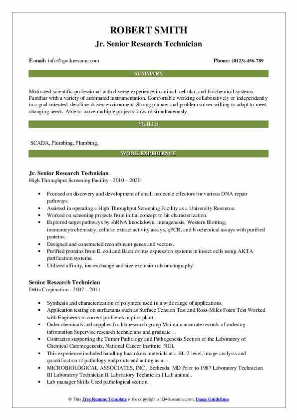 senior research technician resume samples  qwikresume