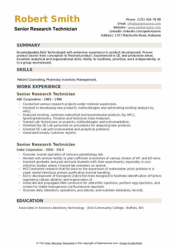Senior Research Technician Resume example