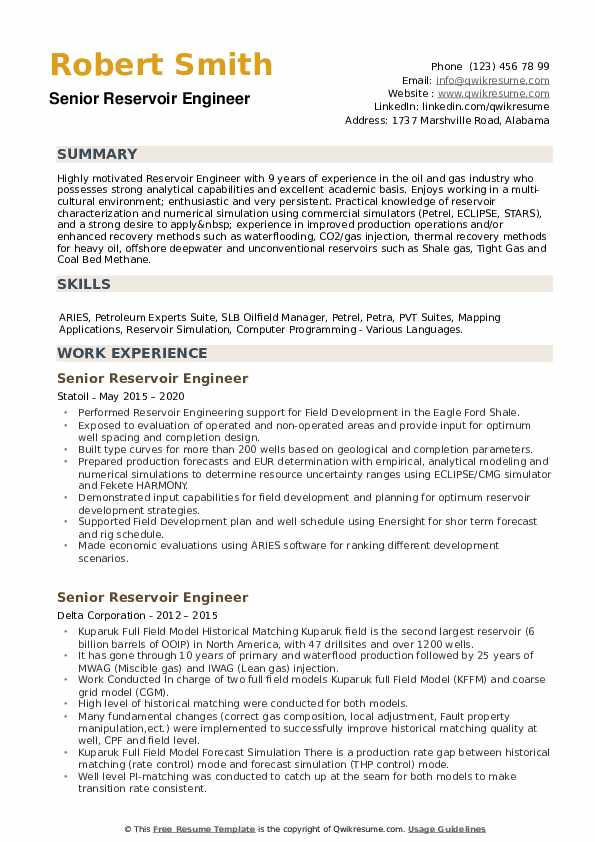 Senior Reservoir Engineer Resume example