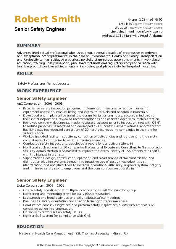 Senior Safety Engineer Resume example