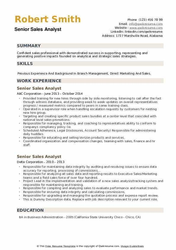 Senior Sales Analyst Resume example