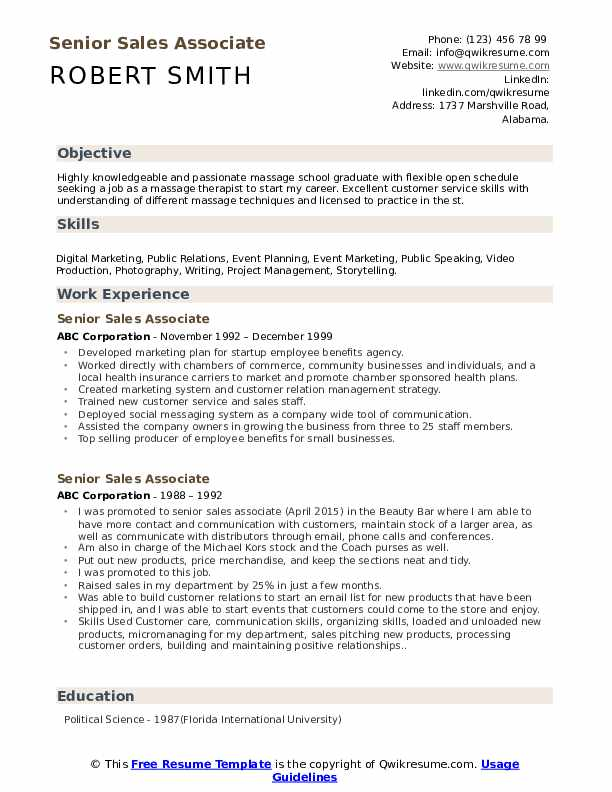 Senior Sales Associate Resume Samples Qwikresume