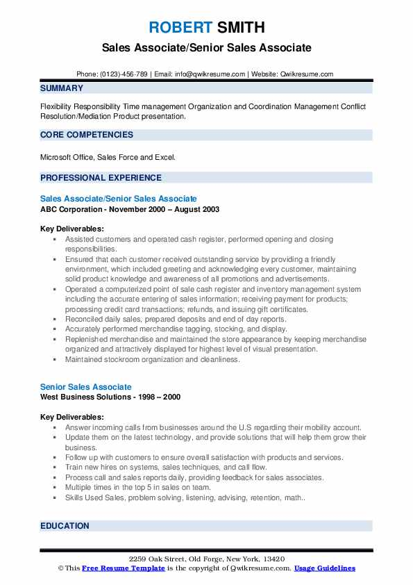 Sales Associate/Senior Sales Associate Resume Model
