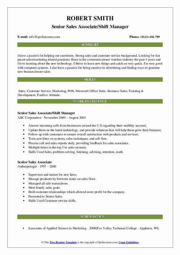 Senior Sales Associate/Shift Manager Resume Sample