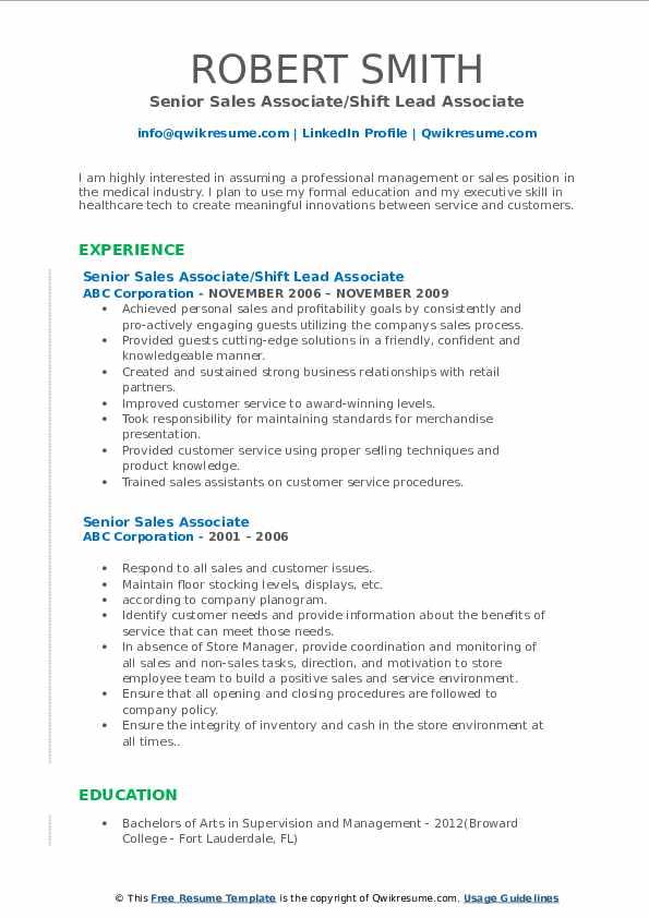 Senior Sales Associate/Shift Lead Associate Resume Example