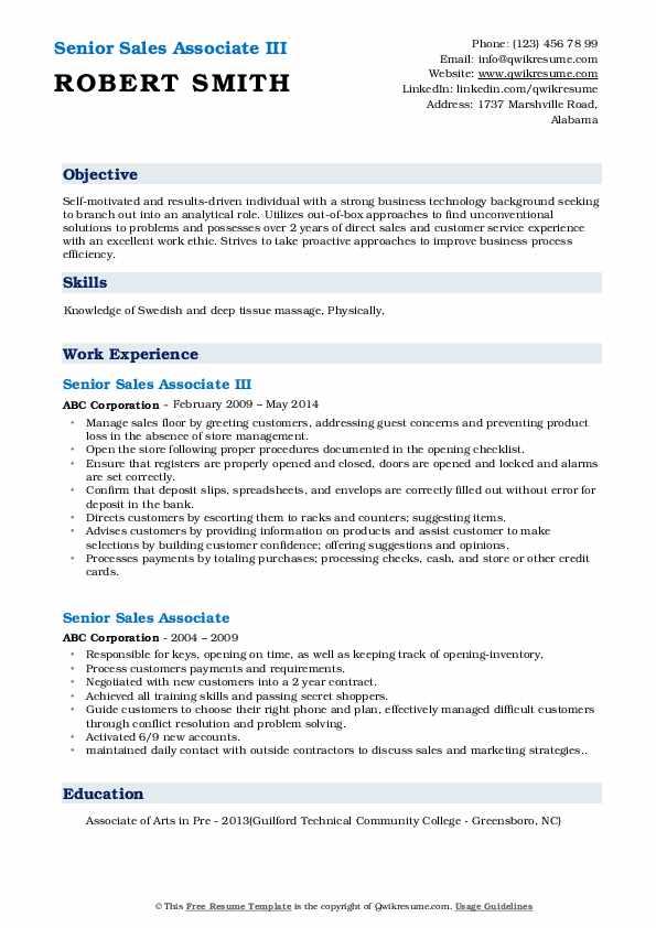 Senior Sales Associate III Resume Template