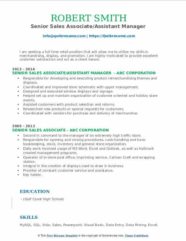 Senior Sales Associate/Assistant Manager  Resume Sample