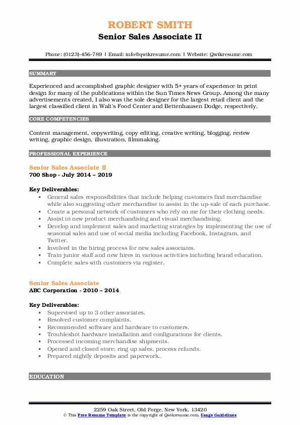 Senior Sales Associate II Resume Format