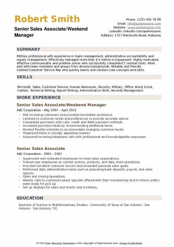 Senior Sales Associate/Weekend Manager Resume Sample