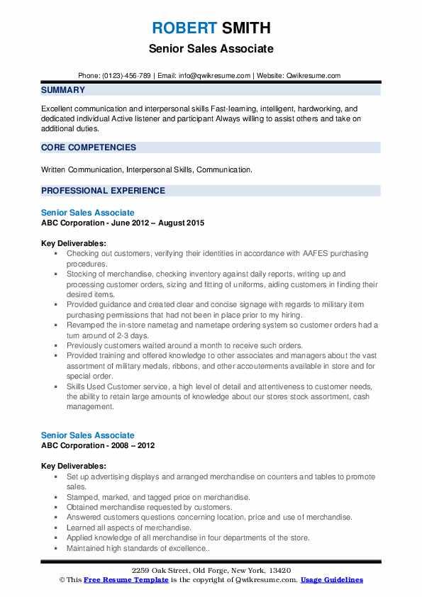 Senior Sales Associate Resume example