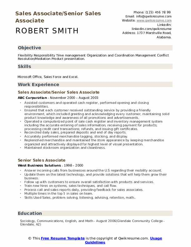 Senior Assistant Manager Resume Model
