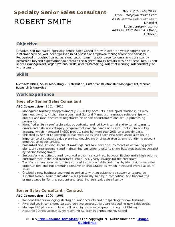 Specialty Senior Sales Consultant Resume Format