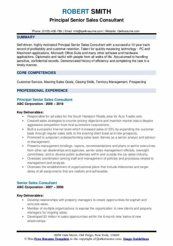 Principal Senior Sales Consultant Resume Sample
