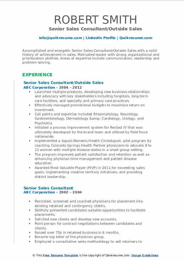 Senior Sales Consultant/Outside Sales Resume Model