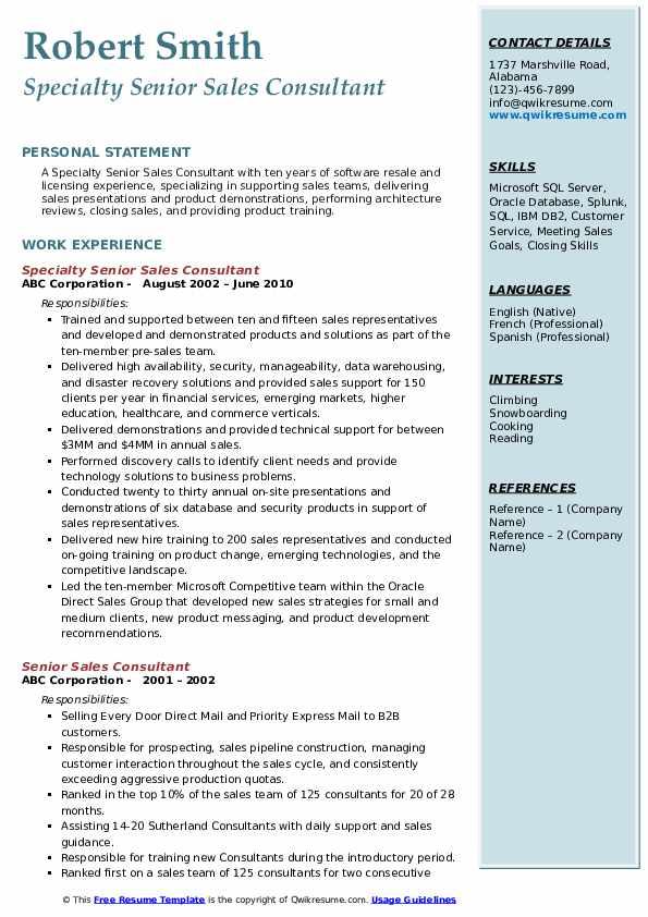 Specialty Senior Sales Consultant Resume Sample
