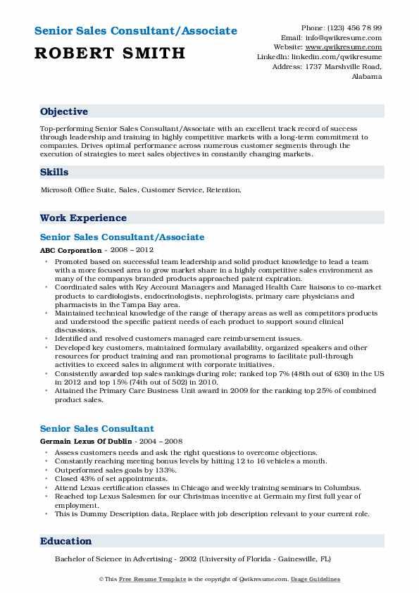 Senior Sales Consultant/Associate Resume Model