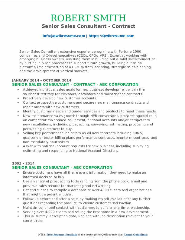 Senior Sales Consultant - Contract Resume Template