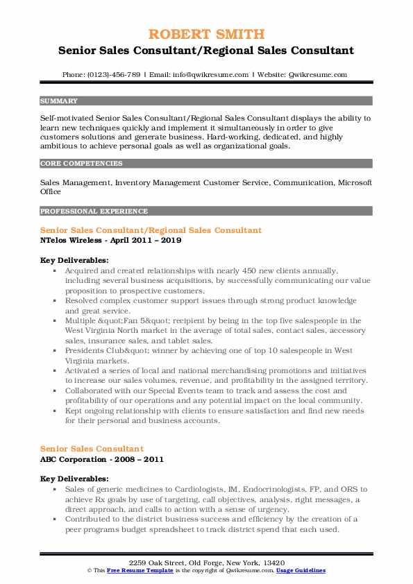 Senior Sales Consultant/Regional Sales Consultant Resume Sample