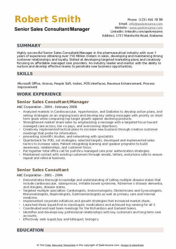 Senior Sales Consultant/Manager Resume Example