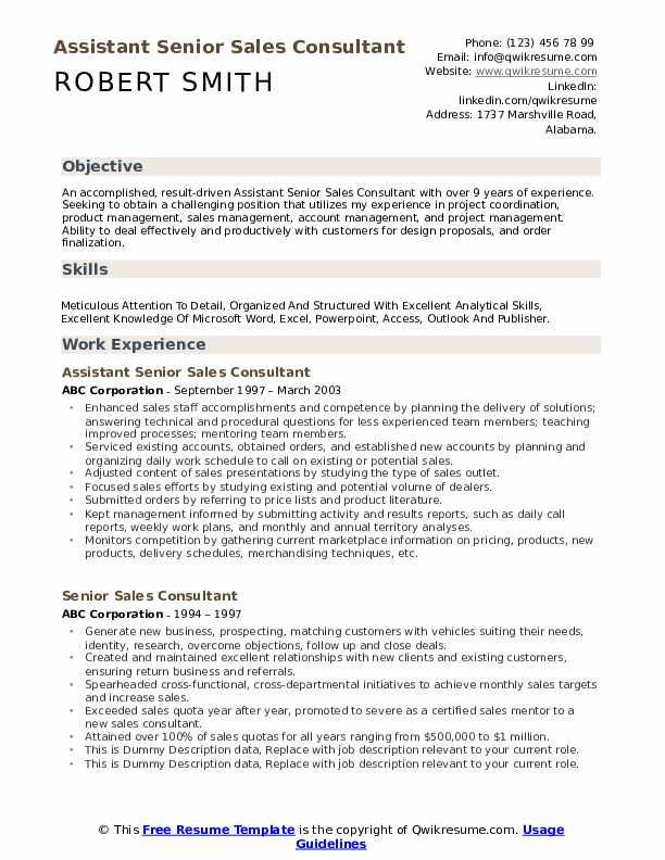 Assistant Senior Sales Consultant Resume Template