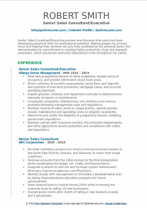 Senior Sales Consultant/Executive Resume Example