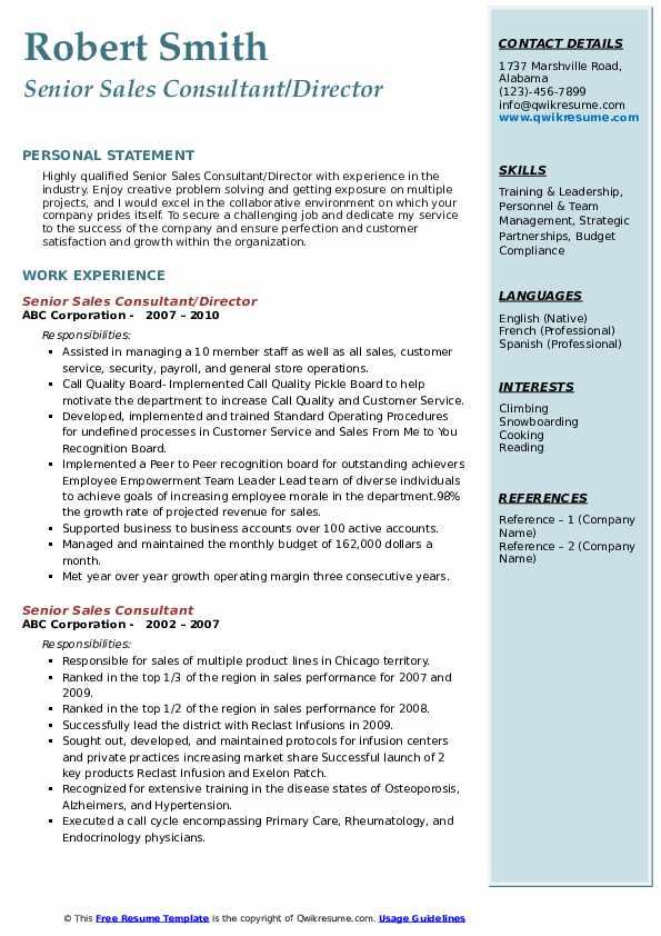 Senior Sales Consultant/Director Resume Template
