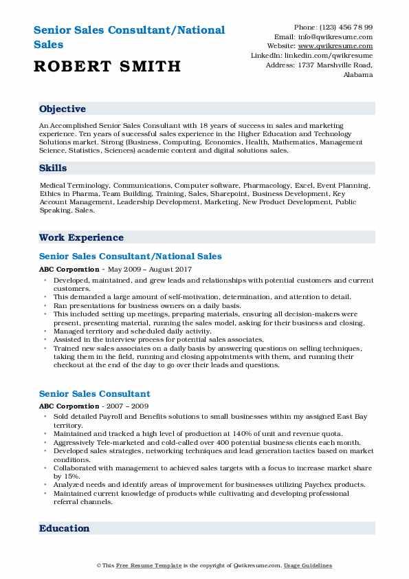 Senior Sales Consultant/National Sales Resume Format