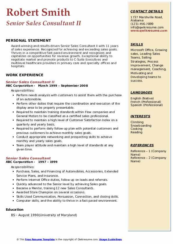 Senior Sales Consultant Resume example
