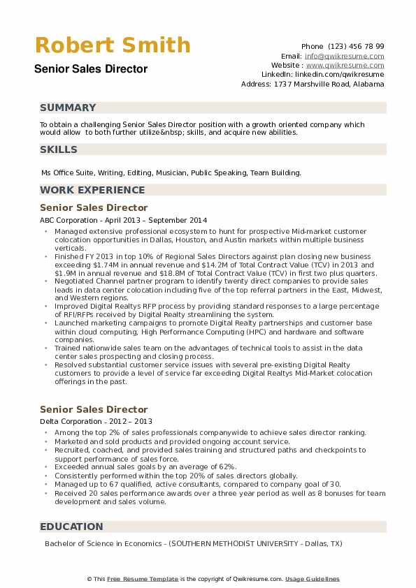 Senior Sales Director Resume example
