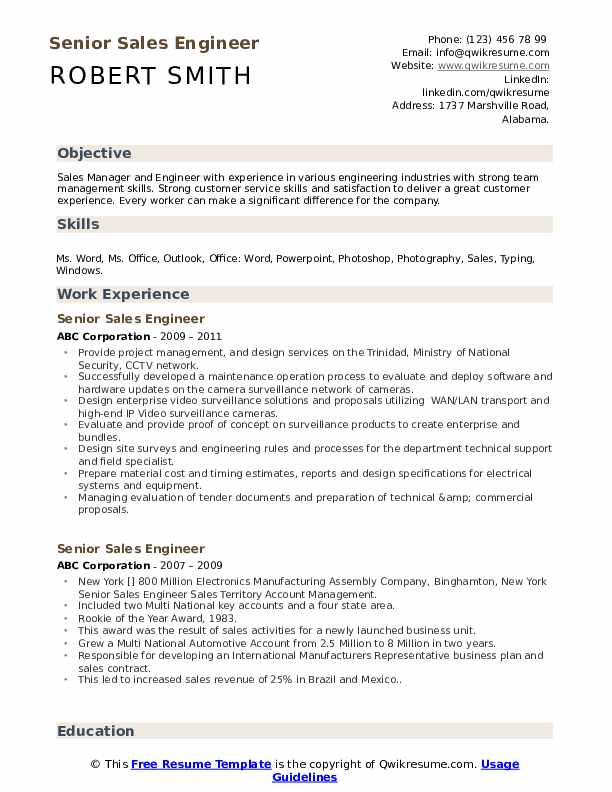 Senior Sales Engineer Resume example