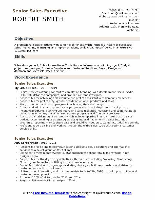 Senior Sales Executive Resume Samples | QwikResume