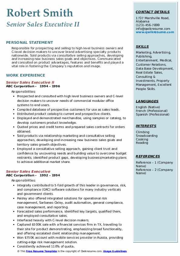 senior sales executive resume samples