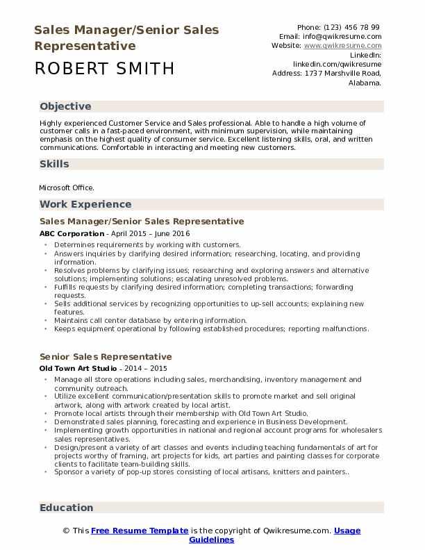 Sales Manager/Senior Sales Representative Resume Template