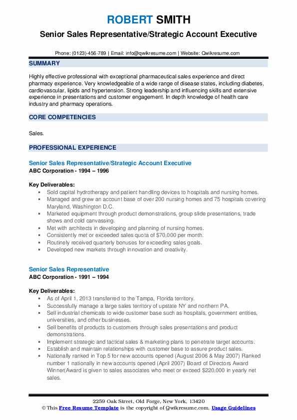 Senior Sales Representative/Strategic Account Executive Resume Model