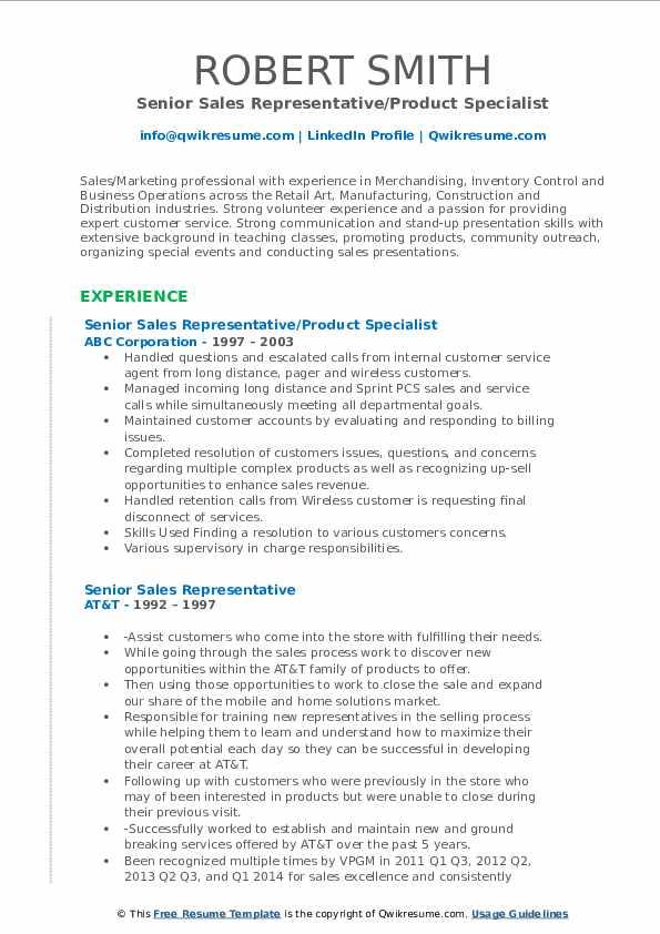 Senior Sales Representative/Product Specialist Resume Example