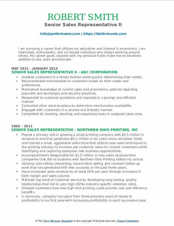 Senior Sales Representative II Resume Model