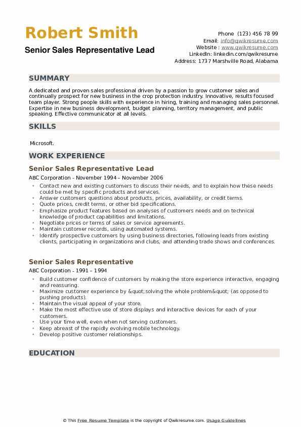 Senior Sales Representative Lead Resume Model